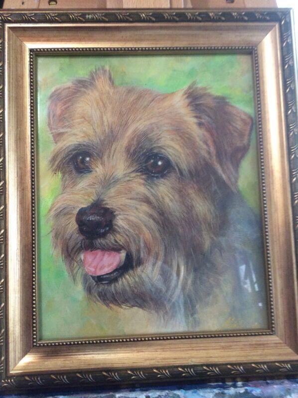 Alex Vald Original Acrylic Painting Of Norfolk Terrier