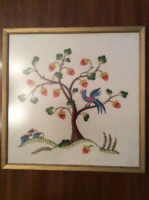 Framed Needlepoint Acorns Oak Tree Bluebird Strength Family Tree of Life for sale  Evansville