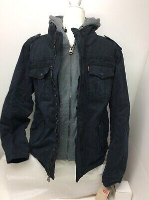 Levis Mens Small Two Pocket Hooded Trucker Jacket Double Layer Jean Navy Double Layer Jacket