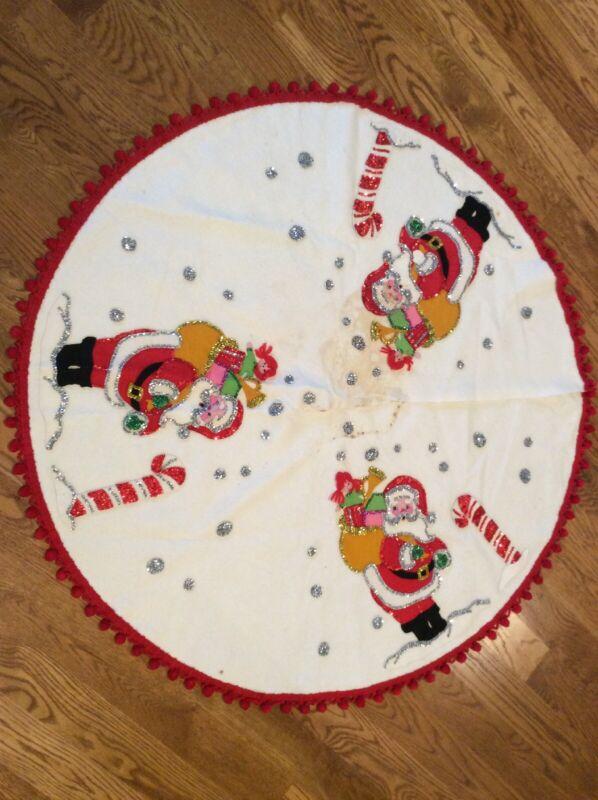 """Bucilla Santa Toys Sequins  Felt Vintage Christmas Tree Skirt 42"""""""