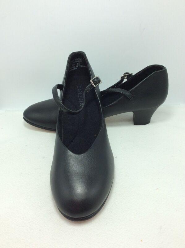 New! Capezio 550 Black Jr. Footlight Character Dance Heels Size 8 N