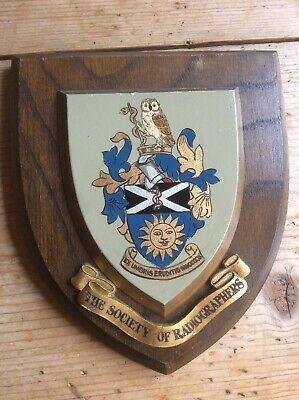 VINTAGE HAND PAINTED HERALDIC WALL PLAQUE SHIELD - THE SOCIETY OF RADIOGRAPHERS