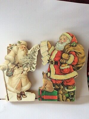 Vintage Bob Edlund Hand Made Wooden Standing Father Christmas Ornaments 8""