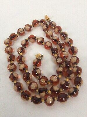 """Italian venetian  murano millefiori Brown White art glass  necklace 24 3/8"""" Brown Venetian Necklace"""