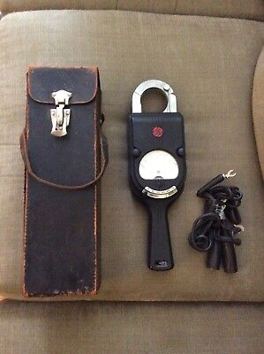 Vintage General Electric Clamp On Amp Meter With Leads And Case Not Tested