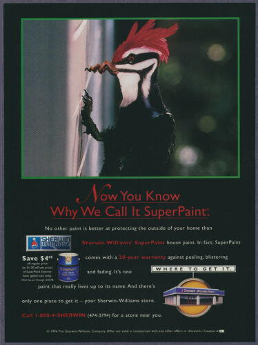 Red Head Woodpecker Sherwin Williams Paint Vintage Magazine Print Ad 1996
