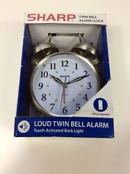 Sharp Loud Twin Bell Alarm Clock w/ Touch Activated Back Light; Metal - NEW