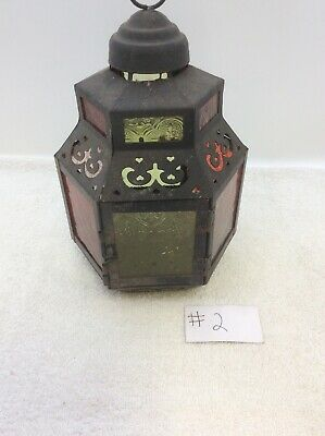 Metal Candle Holder Hanging Lantern Table Decor Pink,red And Green Glass 6 Sided Sided Hanging Lantern
