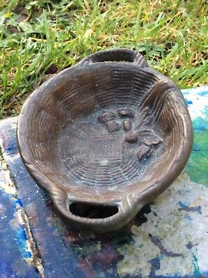 ANTIQUE BRONZE -GREAT PATINA-'MADE IN ENGLAND',-CHERRIES IN BASKET TRINKETS BOWL