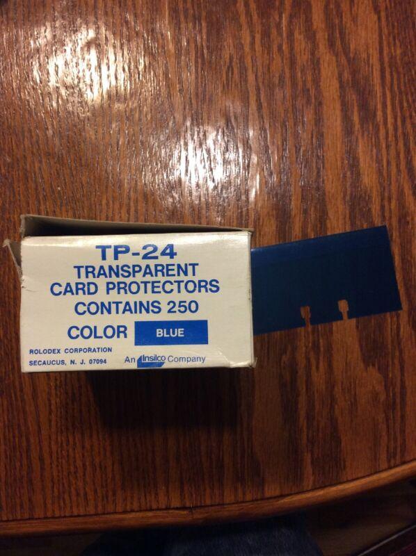 Rolodex TP-24 Blue  Transparent Card Protectors, 250 Box- 3/4 Full (Blue)