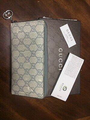Pre-Owned Gucci GG Zip Around Long Wallet (Grey; Leather)