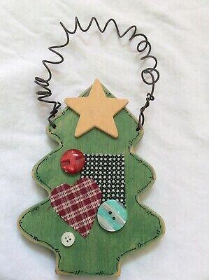 Handmade / Decorated Wood & Metal Door Hanger: Rustic Christmas Tree