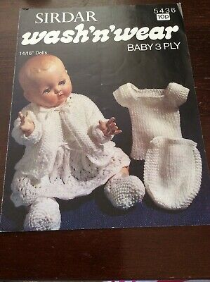 Vintage Dolls Clothes.  Knitting Pattern.