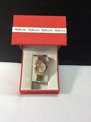 Style Co Ladies Gold Tone Watch Rhinestones