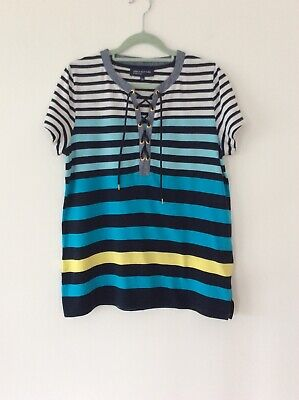 Ladies Blue Striped Tee Shirt Size Large By Jones Of New York