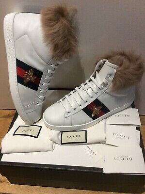 Gucci High Top Ace Bee fur Unisex Men's Women's Shoes Sneakers Trainers Size 7.5