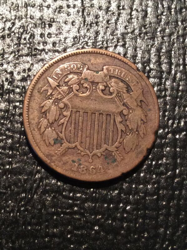 1864 Shield Two Cent Piece Large Motto  Major 90 Degree Die Rotation