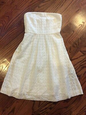 BANANA REPUBLIC WOMEN'S WHITE EYELET LACE STRAPLESS FIT & FLARE DRESS NEW 8