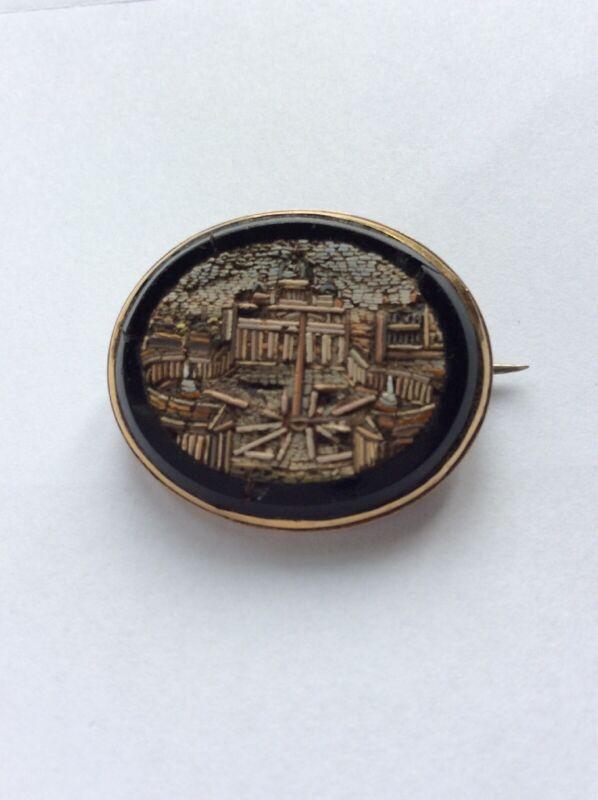 Victorian Micro Mosaic Brooch Vatican City