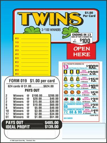 Seal Card 624ct 5W TWINS seal card Bingo Pull Tab Tip Board (2-$100)