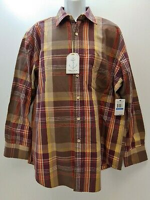 Nautica Mens Shirt Vintage Style Button Up XL Long Sleeve Plaid Brown Rust NWT