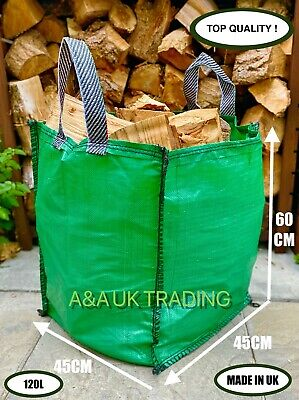 ✅ 25 x Garden Waste Bag 120L Heavy Duty Strong Sack Grass Leaves Logs Firewood