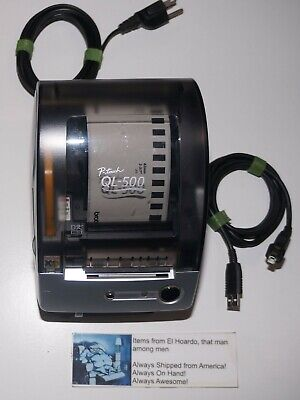 Brother Ql-500 Label Thermal Printer With Cables And Roll Loaded Tested
