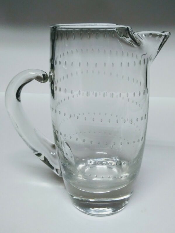 Vintage Etched Line Pattern Clear Glass Pitcher w/ Detached Upper Handle