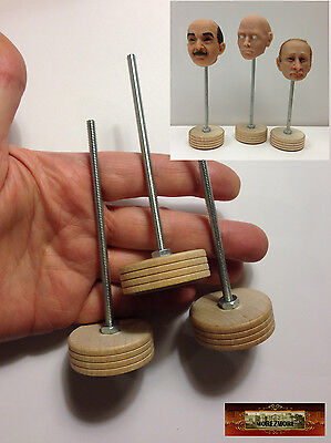 M01131 MOREZMORE 3 Mini Clay Doll Head Storage Stands Small 1:12 - 1:6 T20