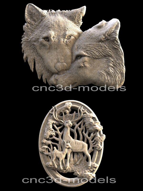 3D Model STL for CNC Router Engraver Carving Artcam Aspire Wolf Deer Hart 014