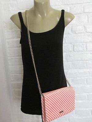 Kate Spade Patent Leather Pink Ivory Diagonal Stripe Chain Strap Flap Bag