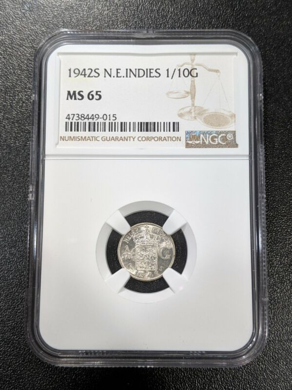 1942 S MS65 Netherlands East Indies Silver 1/10 Gulden NGC KM 318 WHITE LUSTER!