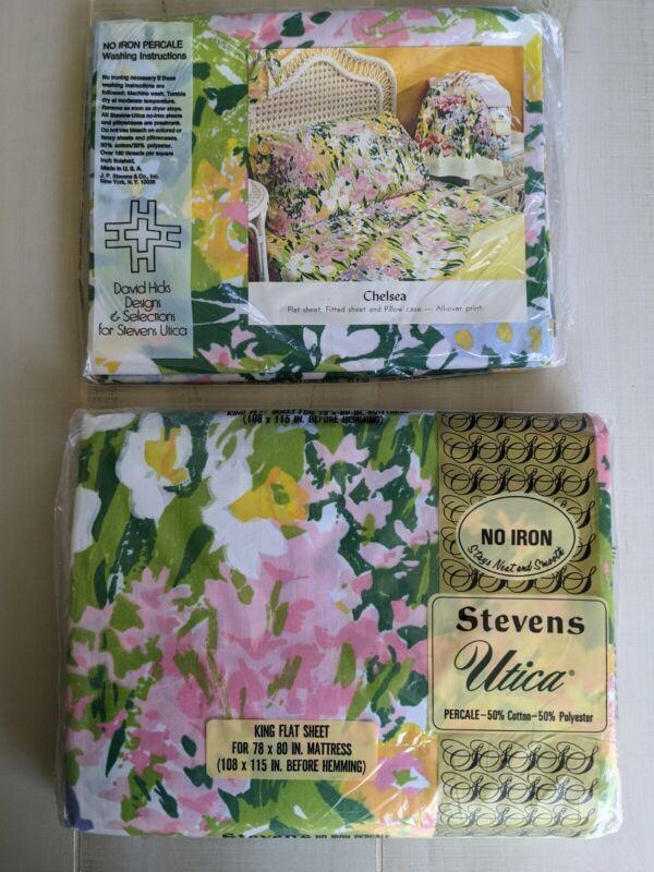 NOS Vtg 70s Stevens Utica CHELSEA King Flat  SHEET  & 2 Pillowcases David Hicks