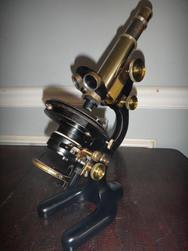 Antique Ernst Leitz Wetzler Microscope c1907 #102828 Orig Inlaid Oak Case