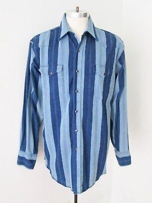 (Wrangler Navy Light Blue Stripe 100% Cotton Twill Western Shirt Pearl Snaps L)