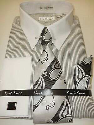 Mens Black Gray Stripe White Cuff + Collar Bar Cuffed Dress Shirt Karl Knox (Collar Mens Black Shirts)