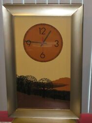 1970 Vintage Welby Clock. Large Rectangle. Art by Elgin. 3-D Savannah Background