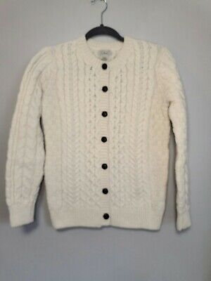 VTG LL Bean 100% Wool Irish  Cable Knit Sweater Ireland Womens sz med