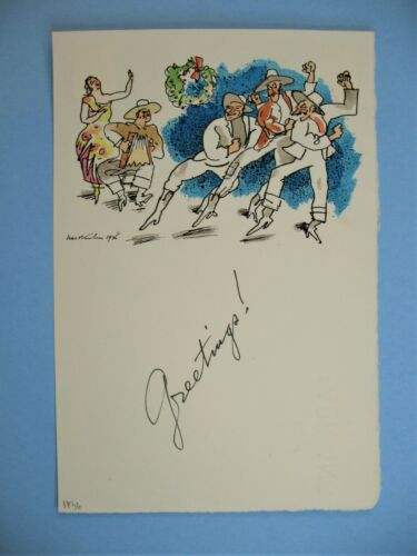 Smithsonian ties 1936 Signed Walt Kuhn Holiday Christmas Card Ink & Water Color
