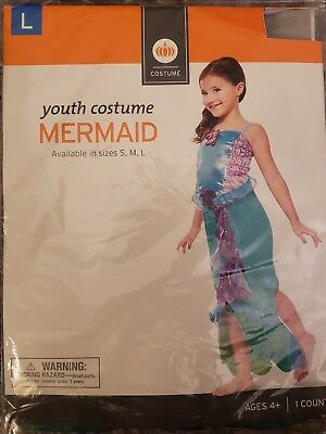 NEW GIRLS MERMAID DRESS UP HALLOWEEN COSTUME SIZE 10-12 AGES 4+