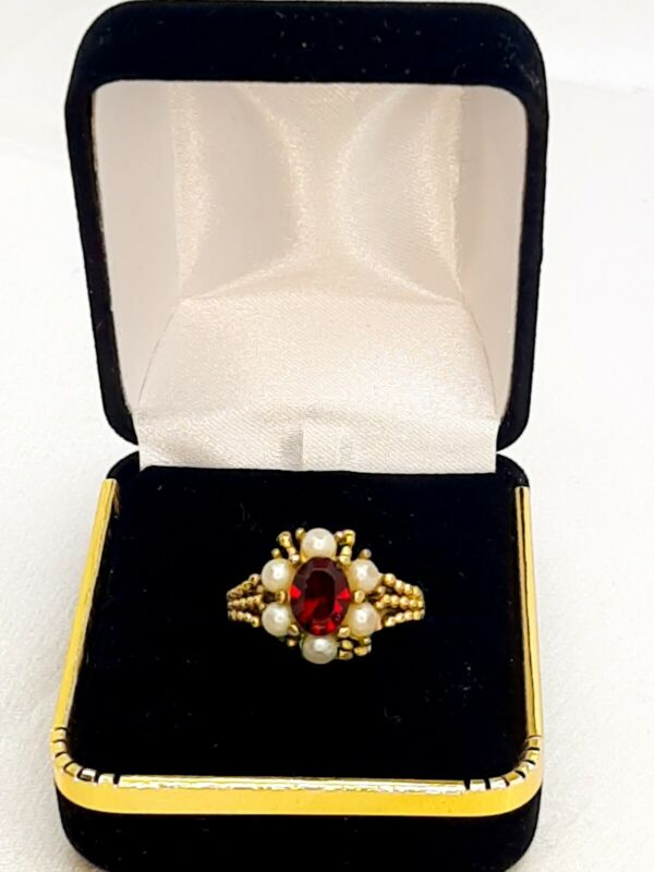 Vintage Renaissance Revival Avon Ring Faux Ruby & Pearl Costume Jewelry size 7.5