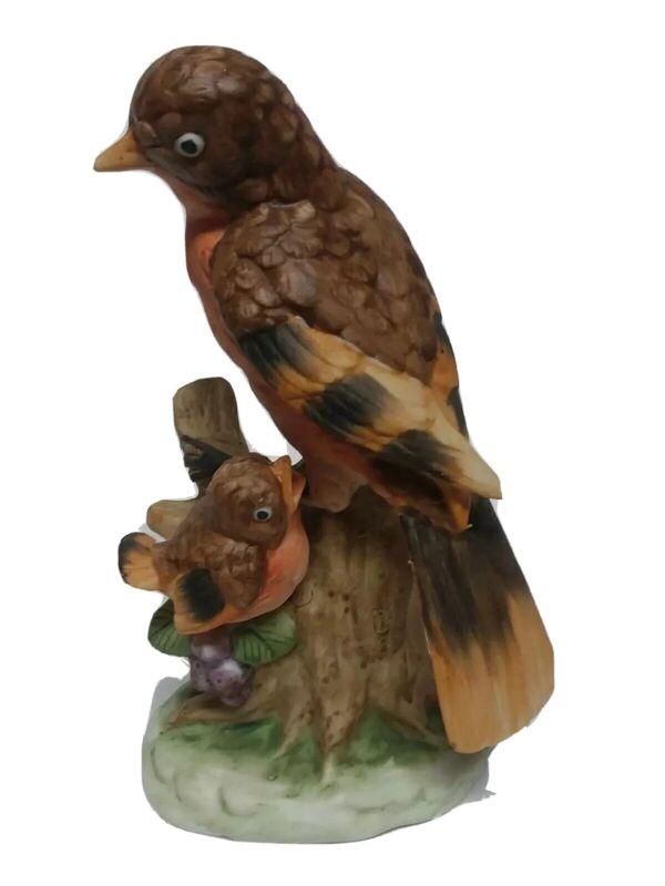 """Vintage Bisque Porcelain Figurine Mamma & Baby Robin Bird on Branch 6"""" tall"""