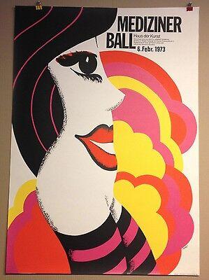 PLAKAT MÜNCHEN FASCHING MEDIZINER BALL 70ER JAHRE HAUS DER KUNST 1973 KUNERT