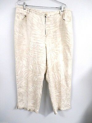 Easy Spirit 100% Linen Cropped Pants Sz 3 16 18 Beige Neutral Pattern Womens ()