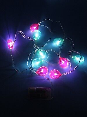 LED String Lights Green Pink Balloons 6 Foot Strand Indoor Battery Operated NEW