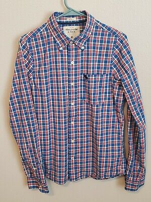 ABERCROMBIE AND FITCH Men's Muscle Sz Medium Long Sleeve Plaid Button Down Shirt