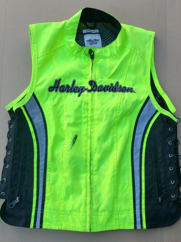 Harley Davidson Green Reflective Riders Safety Vest Medium Size Adjustable Adult