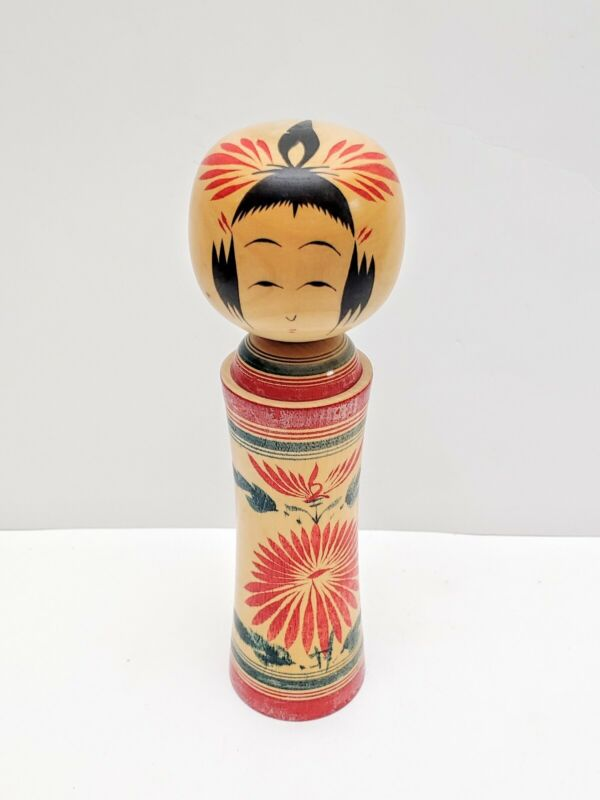 """Vintage Japanese Wooden Doll Signed Dated 8"""" Tall"""