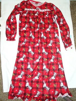 NEW GIRLS PEANUTS SNOOPY WOODSTOCK CHRISTMAS NIGHTGOWN SIZE S - Christmas Nightgowns Girls