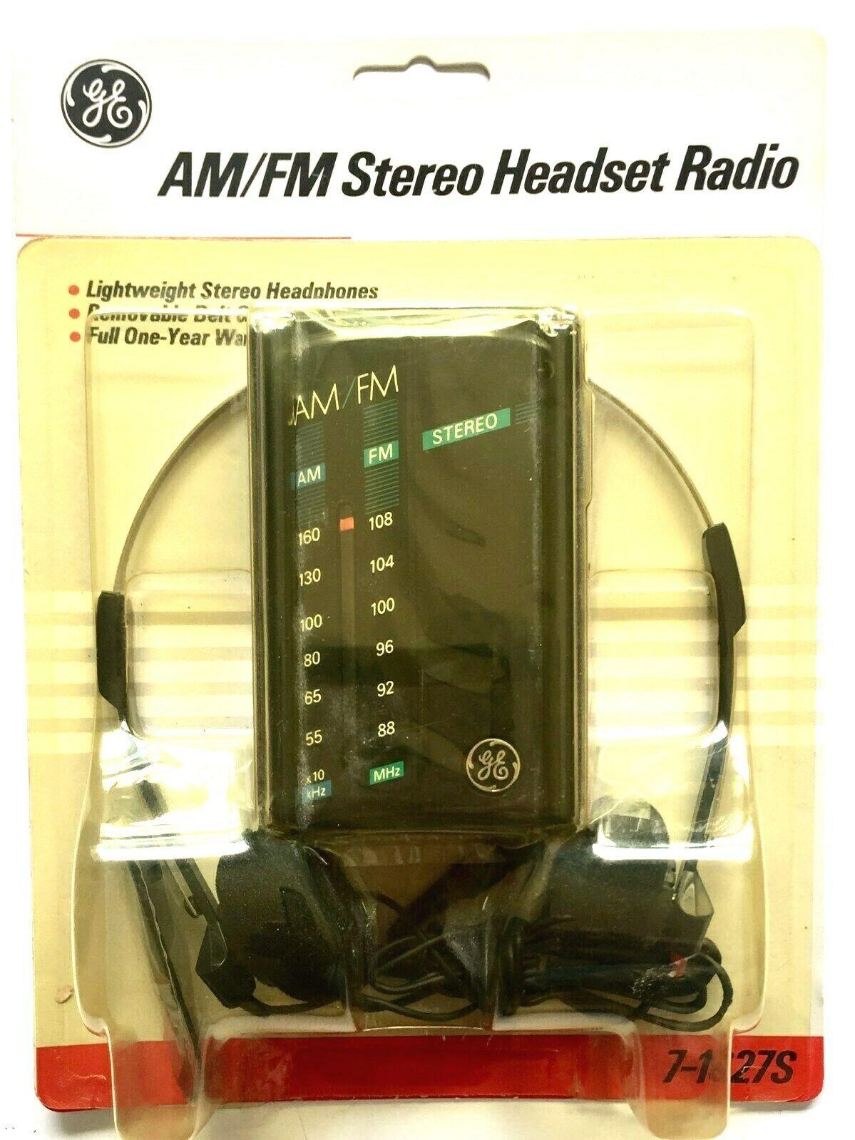 VINTAGE GE AM / FM STEREO HEADSET PORTABLE RADIO 7-1627S  NE